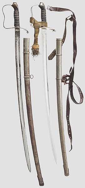 Zwei Säbel M 1861 für Offiziere der Infanterie
