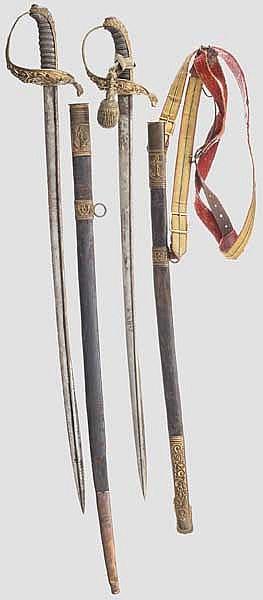 Zwei Säbel M 1850/71 für Offiziere der Marine