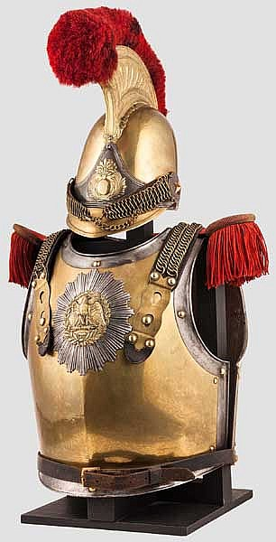 A helmet M 1845 and a cuirass M 1825 for enlisted men of the Carabiniers