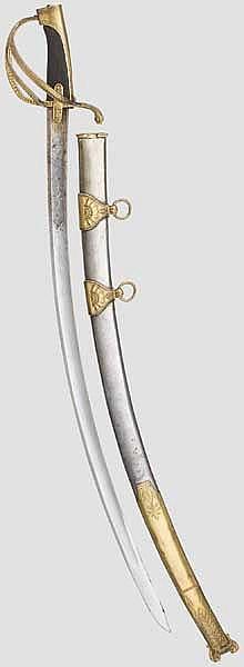 Säbel für Offiziere der leichten Kavallerie mit Pirmet-Scheide, Anfang 19. Jhdt.