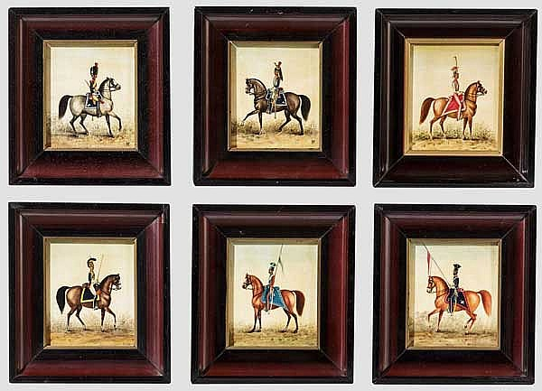 Lech Wierzbicki - sechs Miniaturgemälde im Rahmen