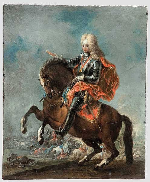 Prince Eugen of Savoy-Carignan (1663 - 1736) - a portrait on horseback, 18th century