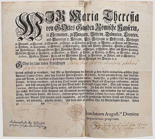 Kaiserin Maria Theresia (1717 - 1780) – Verleihungsurkunde zum Hochadeligen Frauenzimmer Sternkreuzorden, datiert 14. September 1768