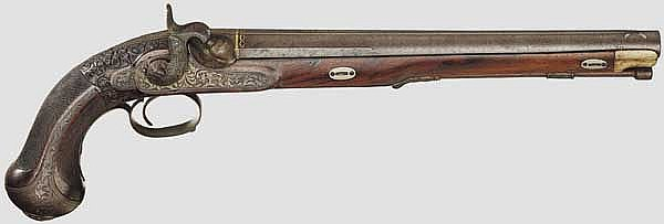 Master Nikolay Goltiakov (1815 - 1910) - a significant, finely engraved Russian percussion pistol, Tula, circa 1880