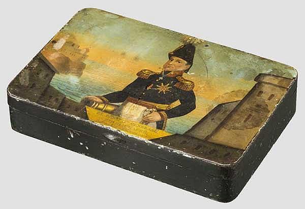 Tabakdose mit Gemälde des Generals David Hendrik Chassé, Holland, Mitte 19. Jhdt.