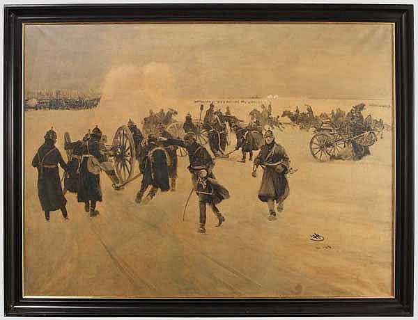 Wilhelm Schreuer (1866 - 1933) - winterliche Manöverszene mit Feldartillerie 1903