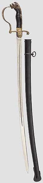 Löwenkopfsäbel für Offiziere im Westfälischen Fußartillerie-Regiment Nr. 7