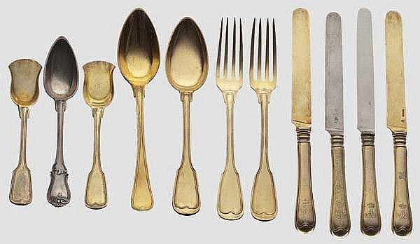 Prince Adalbert of Bavaria (1828 - 1875) - 34 pieces of vermeil silverware