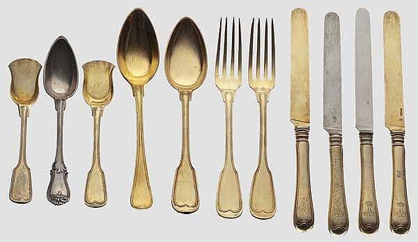 Prince Adalbert of Bavaria (1828 - 1875) - 34 pieces of vermeil silverware