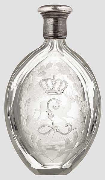 König Ludwig II. - gläsernes Riechfläschchen mit Silberfassung