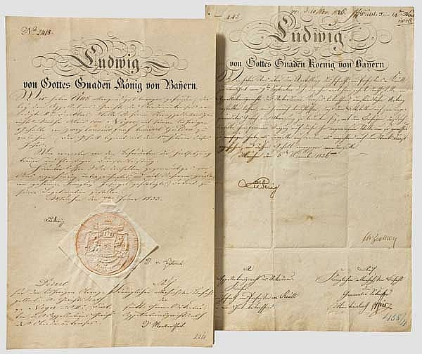 König Ludwig I. von Bayern (1786 - 1868) - zwei Dokumente mit OU