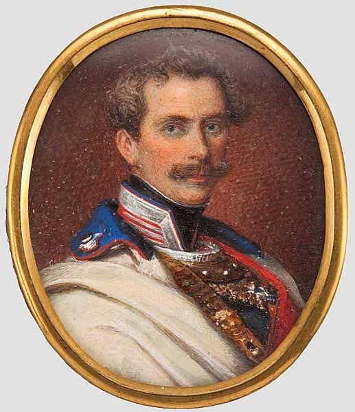 Prinz Karl von Bayern (1795 -1875) - Portraitminiatur nach einem Stahlstich von Andreas Fleischmann, ca. 1850