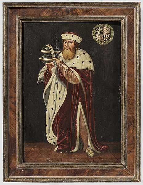 Herzog Ludwig X. von Bayern (1495 - 1545) - Ganzfigur-Portrait mit Herzogshut und Hermelin