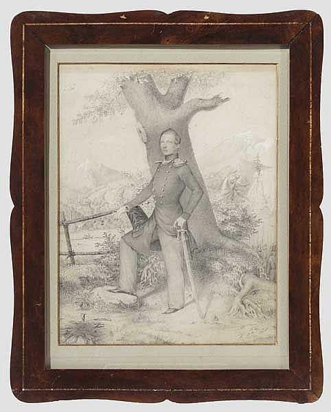 Portrait eines sächsischen Offiziers der Jäger, Bleistiftzeichnung, datiert 1849