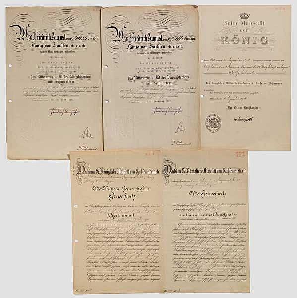 Offizier Udo Gruschwitz - Urkunden und Fotos 1. Weltkrieg