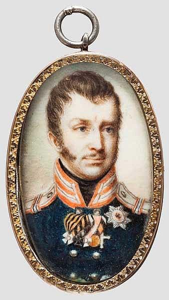 Miniatur-Portrait Friedrich Wilhelm III. (1770 - 1840), seit 1797 König von Preußen, um 1820