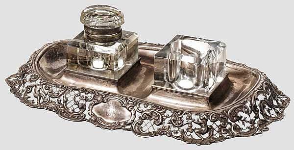 Kaiser Wilhelm II. - silberne Schreibtischgarnitur der Gebr. Friedländer, Berlin