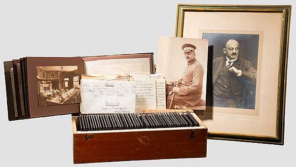 Dr. Hermann Fischer - Fotonegative, Glasfotos und Fotos 1. Weltkrieg, Dokumente