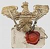 Gesiegelte Probe des Adlers für die Tschapka der Offiziere im Ulanen-Regiment Nr. 7