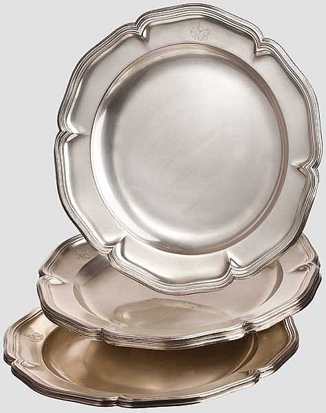Ferdinand Graf von Zeppelin (1838 - 1917) - a set of six silver plates from his personal silverware