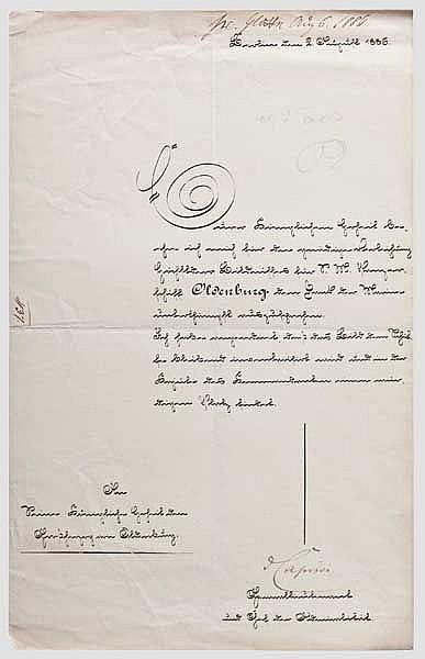 Gen.Lt. Leo Graf von Caprivi (1831 - 1899) - Dankschreiben an Großherzog Peter II. von Oldenburg 1886
