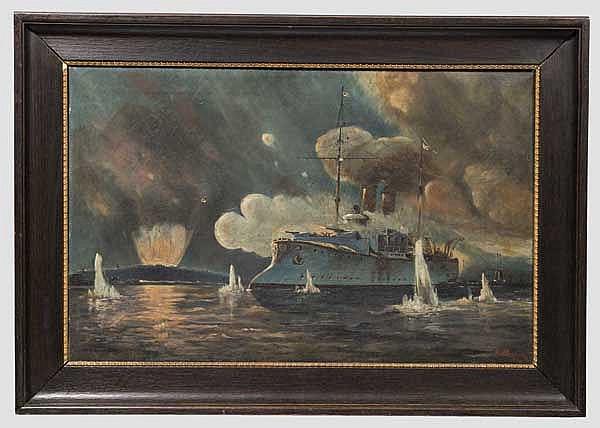 Kaiserliches Kriegsschiff im Gefecht, datiert 1909