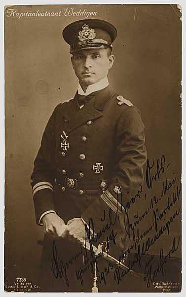 Otto Weddigen - Foto-Ansichtskarte (Liersch) mit Originalunterschrift
