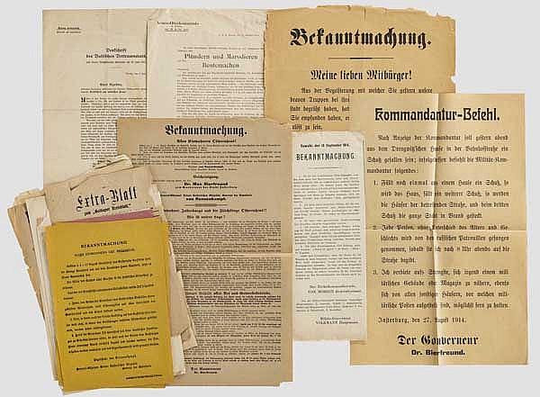 Russische/deutsche Bekanntmachungen beim Einmarsch der Russen in Ostpreußen ab 1914