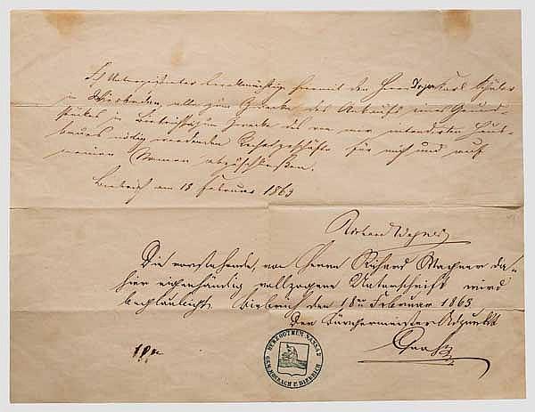Richard Wagner (1813 - 1883) - eigenhändige Anwaltsvollmacht