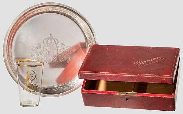 Luitpold von Bayern (1821 - 1912) - Glas, Teller, Zigarrenkiste