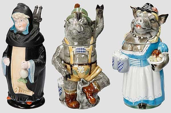 Drei Figurenkrüge Bayern
