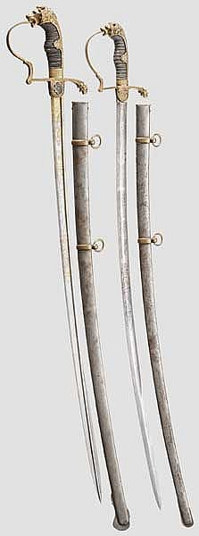 Two honour sabres for staff trumpeter Albert Wagner in 2nd Guard Dragoon Regiment, dated 1870/71 and 1874