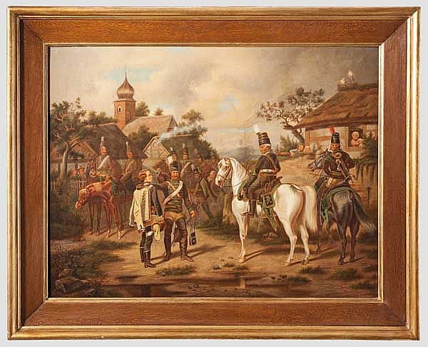 A German painting of Blücher with the Belling-Hussars, 19th century
