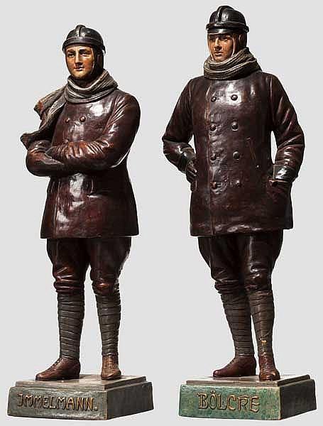 Keramik-Statuetten von Bölcke und Immelmann um 1918