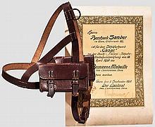 Urkunde zur bronzenen Medaille und Geschirr für Such- und Polizeihunde