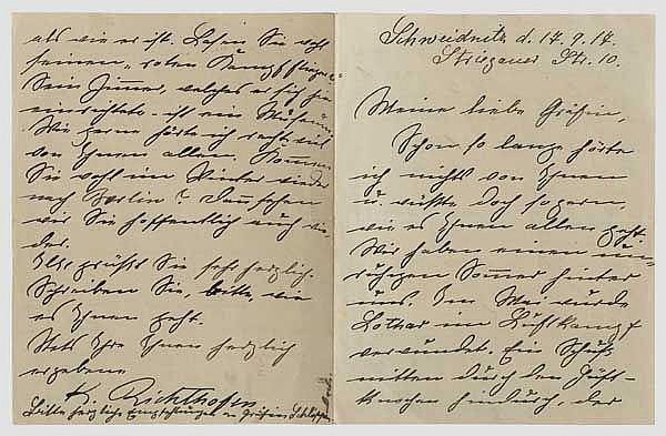 Kunigunde von Richthofen - eigenhändiger Brief mit Berichten von Manfreds und Lothars Verletzungen, datiert
