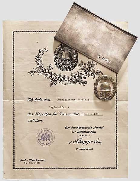 Ernst Udet (1896 - 1941) - Besitzzeugnis zum Abzeichen für Verwundete in Mattweiß