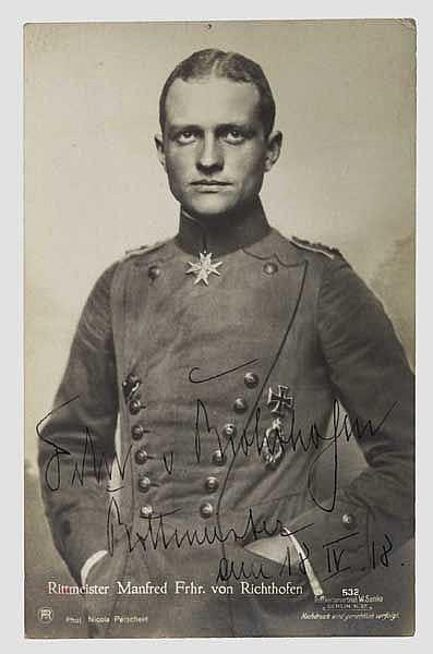 Manfred von Richthofen (1892 - 1918) - Foto-Ansichtskarte (Sanke) mit Originalunterschrift