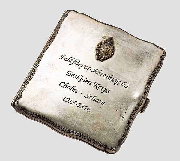 Feldflieger-Abteilung 63 - Zigaretten-Etui aus Silber
