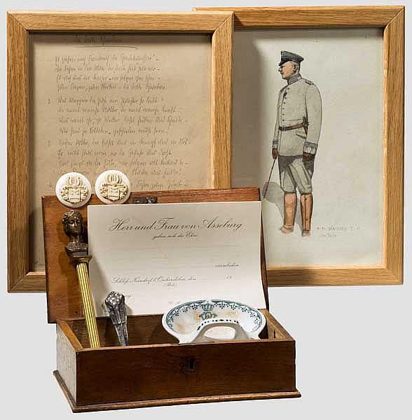 Grafen von der Asseburg - Holzkästchen mit Memorabilia