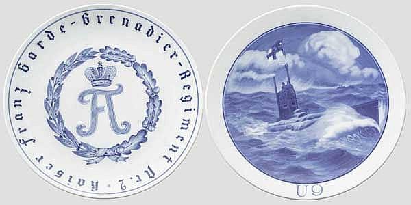 Zwei Teller Meissen Porzellan - Garde-Grenadier Regiment Nr. 2 + U-Boot U-9