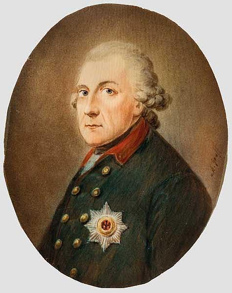 Miniaturportrait Friedrich der Große nach Anton Graff, deutsch, 18. Jhdt.