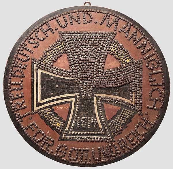 Patriotisches Nagelbild bzw. Wehrschild mit Eisernem Kreuz