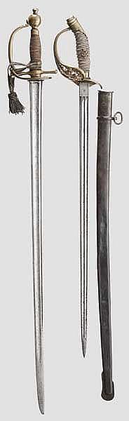 Zwei Degen für Offiziere der Infanterie, 19. Jhdt.