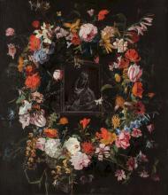 HIERONYMUS GALLE THE ELDER (1625 - 1679) Madonna in a flower garland