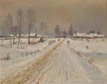 NIKOLAY BOGDANOV-BELSKY (1868-1945) Rural winter landscape