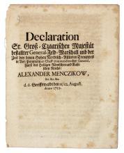 Declaration Sr. Groß-Czaarischen Majesta¨t Bestallter General-Feld-Marschall Und der Zeit bey denen Hohen Nordisch-Alliirten Trouppes in Vor-Pommern ... General ... Alexander Menczikow.