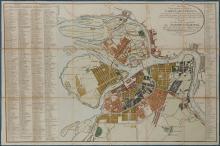 [Hand-Colored Map of Pushkin's St. Petersburg]