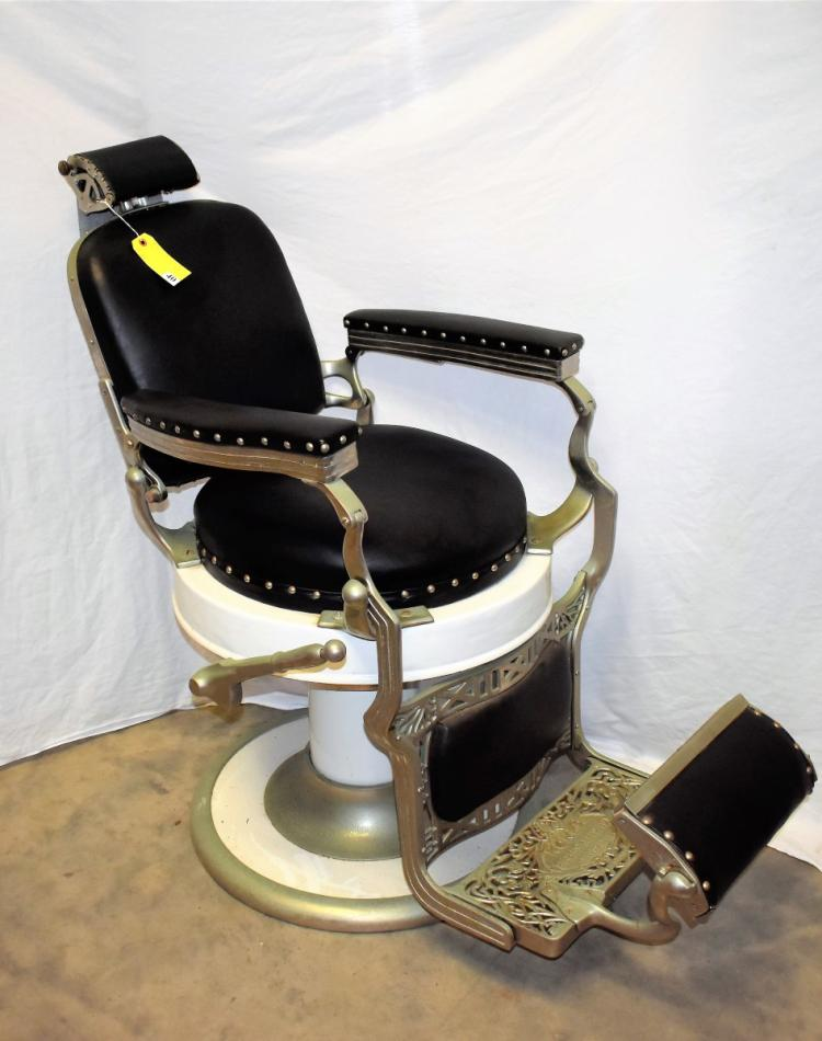 Koken Porcelain Barber Chair With Round Seat
