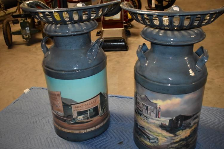 Pair Of Milk Can Tractor Seat Bar Stools